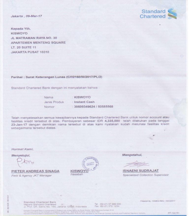 Surat Lunas Bank Standart Chartered