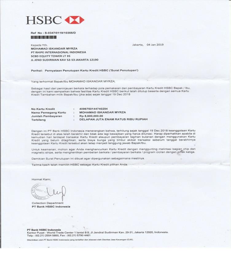Surat Lunas HSBC